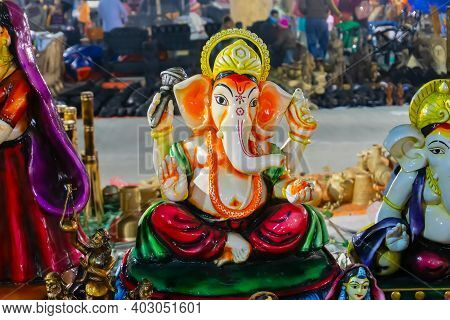 Colorful Lord Ganesha Terracotta Doll Dressed In Traditional Indian Dress, Made In Krishnanagar, Nad