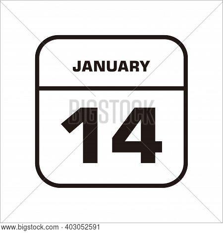 Calendar Icon 14 Isolated On White Background, Calendar Icon Vector Flat Modern, Calendar Icon, Cale