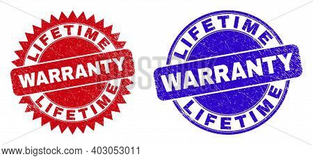 Round And Rosette Lifetime Warranty Watermarks. Flat Vector Distress Watermarks With Lifetime Warran