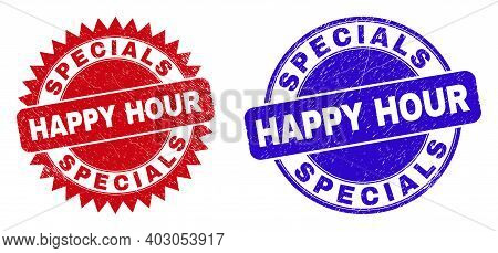 Round And Rosette Specials Happy Hour Watermarks. Flat Vector Scratched Seals With Specials Happy Ho