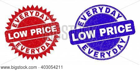 Round And Rosette Everyday Low Price Seal Stamps. Flat Vector Scratched Seal Stamps With Everyday Lo