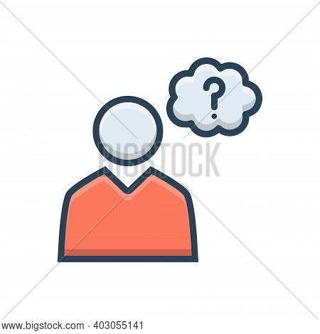 Color Illustration Icon For Guess Worry Concern Guessing Doubt