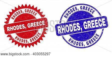 Round And Rosette Rhodes, Greece Watermarks. Flat Vector Textured Watermarks With Rhodes, Greece Mes