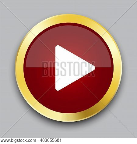 Red Play Button In 3d Style. Red Play Button In A Gold Frame. Stock Image. Eps 10.