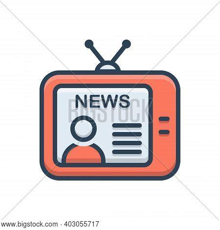 Color Illustration Icon For News Broadcast Newsreader Tv Television