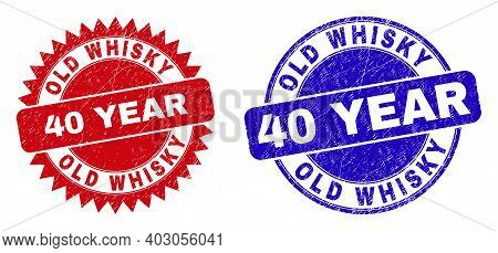 Round And Rosette Old Whisky 40 Year Watermarks. Flat Vector Scratched Watermarks With Old Whisky 40