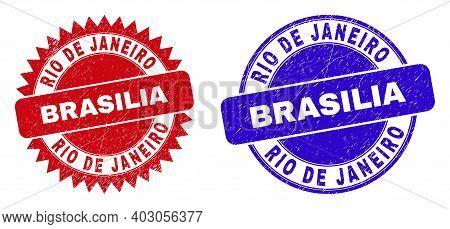 Round And Rosette Rio De Janeiro Brasilia Stamps. Flat Vector Scratched Stamps With Rio De Janeiro B