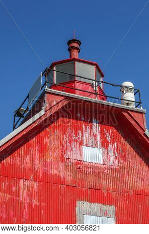 Close up view of Grand Haven light house in west Michigan