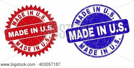 Round And Rosette Made In U.s. Seal Stamps. Flat Vector Textured Stamps With Made In U.s. Slogan Ins