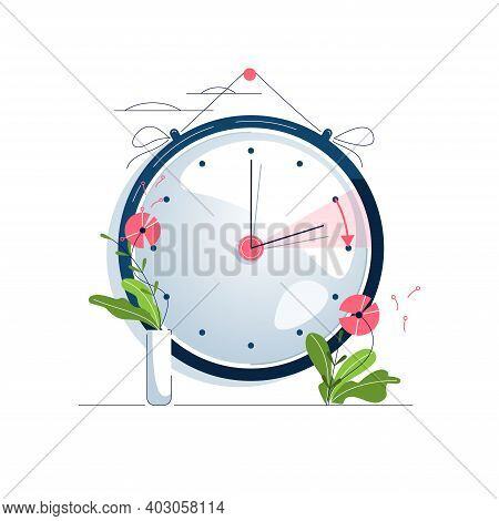 Daylight Saving Time Vector Illustration. The Clocks Moves Forward One Hour To Daylight-saving Time.
