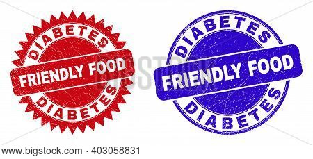 Round And Rosette Diabetes Friendly Food Seal Stamps. Flat Vector Scratched Seal Stamps With Diabete