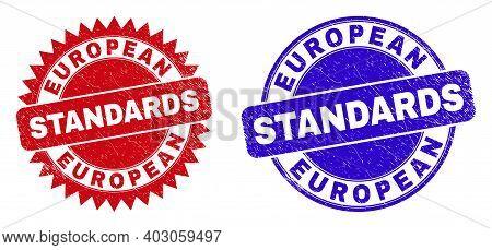 Round And Rosette European Standards Seals. Flat Vector Scratched Seals With European Standards Mess