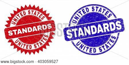 Round And Rosette United States Standards Seal Stamps. Flat Vector Scratched Seal Stamps With United