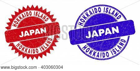 Round And Rosette Hokkaido Island Japan Seal Stamps. Flat Vector Distress Seal Stamps With Hokkaido