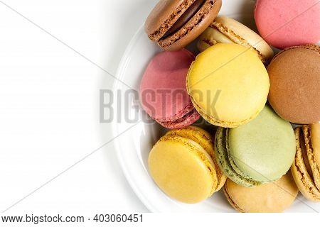 Macaron. Traditional French Colorful Macarons Close Up, Macro