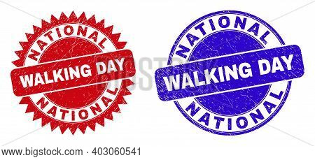 Round And Rosette National Walking Day Seals. Flat Vector Distress Seals With National Walking Day T