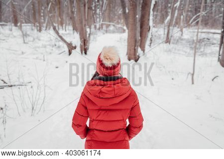 Winter woman walking in snow covered woods park. forest trail outdoors. View from behind of woman in red coat and beanie hat.