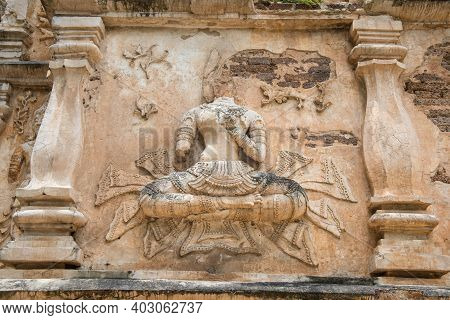 The Ancient Stucco Figures Decorated Outside The Wall Of Viharn In Wat Jed Yod Of Chiang Mai Provinc