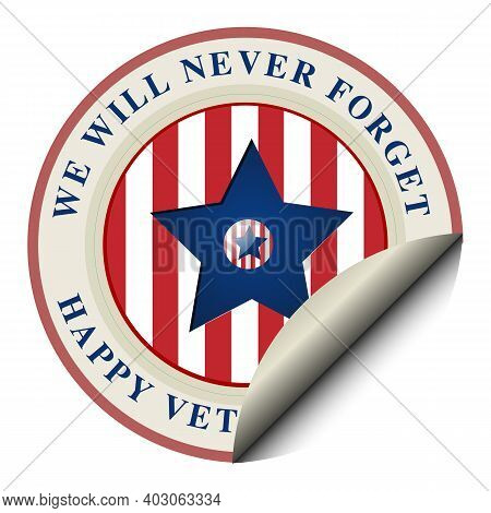Happy Veterans Day Banner, Greeting Card. Waving American Flag On Light Background. National Holiday