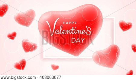 Happy Valentines Day Greeting Card. Valentine's Day Banner With Red 3d Hearts And Patterns From Circ