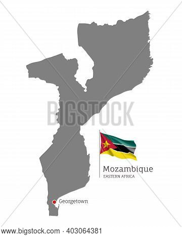 Silhouette Of Mozambique Country Map. Gray Detailed Editable Map With National Flag And Georgetown C