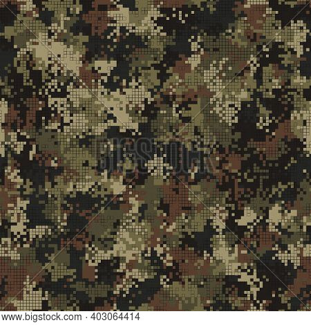 Digital Camouflage Seamless Pattern Military Geometric Camo Background