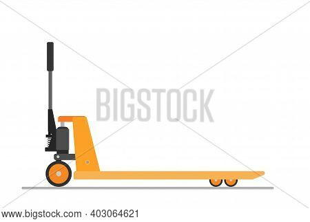 Hand Pallet Jack Lift Isolated On White. Empty Hand Pallet Truck. Cargo Cart Or Forklift. Delivery,