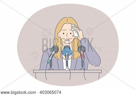 Stress, Mental Disorder, Fear Of Public Speaking Concept. Young Frustrated Stressed Woman Speaker St