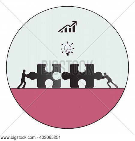 Business Teamwork Concept. Team Metaphor. People Teamwork Connecting Puzzle Elements. Teamwork Illus