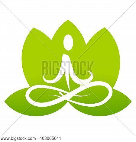 Buddhist Yoga Pose Icon Isolated On White Background. Buddhist Yoga Pose Icon In Trendy Design Style