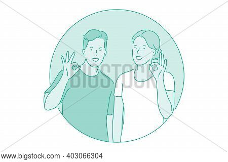 Okay, Agreement, Approval Concept. Smiling Couple Boy And Girl Cartoon Characters Standing And Showi