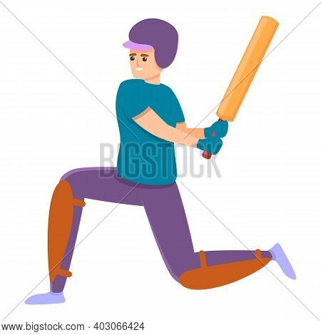 Cricket Bat Hit Icon. Cartoon Of Cricket Bat Hit Vector Icon For Web Design Isolated On White Backgr