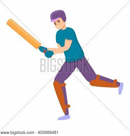 Cricket Bat Run Icon. Cartoon Of Cricket Bat Run Vector Icon For Web Design Isolated On White Backgr