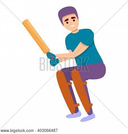 Cricket Kid Equipment Icon. Cartoon Of Cricket Kid Equipment Vector Icon For Web Design Isolated On