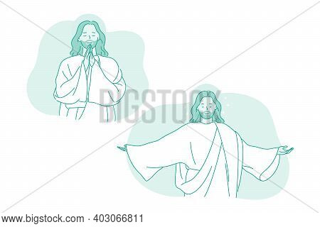 Religion, Christianity, Jesus Christ Concept. Character Of Smiling God Jesus Christ With Stretched A