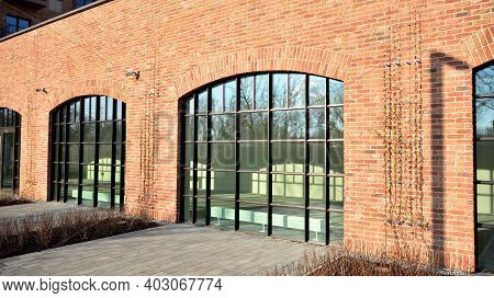 Panoramic Windows Of New Commercial Premises. Commercial Property In Development Standard For Rent.