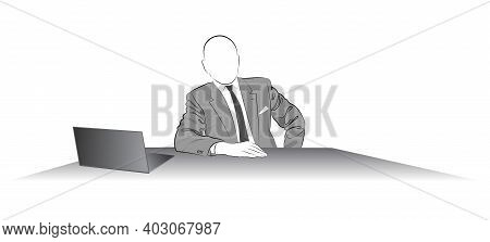 Silhouette Of A Man In A Jacket Sitting At The Desk - Vector Illustration