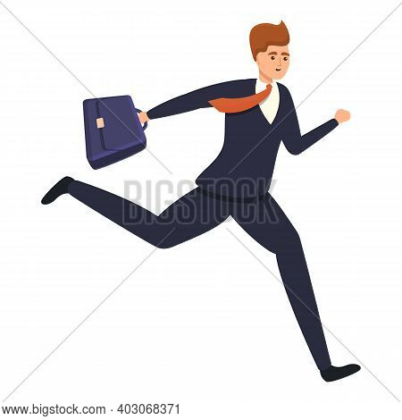 Running Agent Icon. Cartoon Of Running Agent Vector Icon For Web Design Isolated On White Background