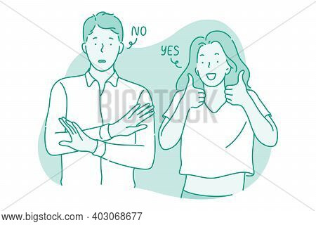Various Emotions And Contrasts In Couple Concept. Young Frustrated Man Standing Showing No Protest S