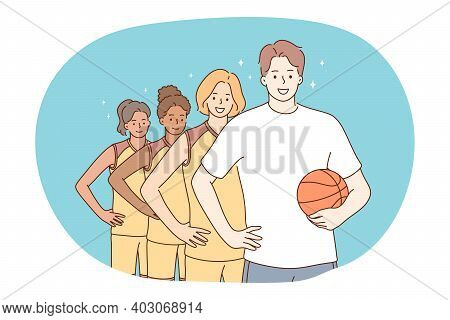 Basketball, Sport, Team Competition Concept. Young Girls Basketball Players In Uniform Standing With