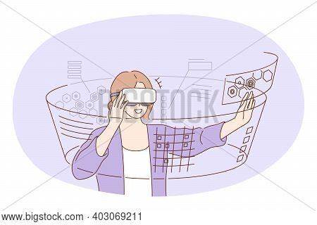 Virtual Reality, Futuristic Innovative Technologies Concept. Young Smiling Woman Cartoon Character I