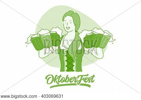 Oktoberfest Beer Festival Concept. Young Smiling Woman Waitress In Traditional German Dress Costume