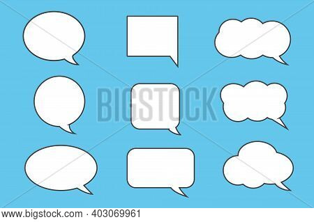 Callout Text Icons Set On Blue Background, Vector Illustration.