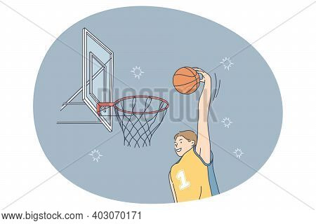 Basketball Player, Sport, Team Competition Concept. Young Smiling Man Basketball Player In Uniform S