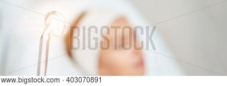 Darsonval Cosmetology Apparatus. Face Clean Procedure. Salon Treatment. Professional Dermatology Har