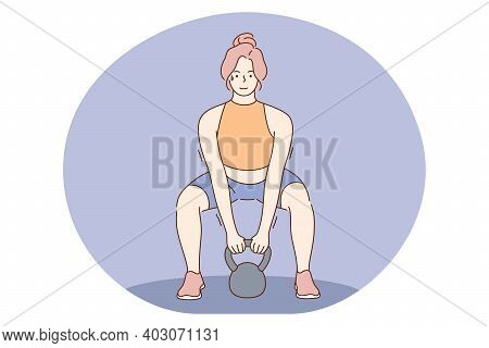 Workout, Professional Sport, Training Concept. Young Woman Athlete Bodybuilder Lifting Weight And Do