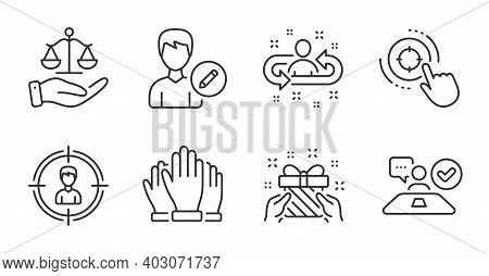 Edit Person, Headhunting And Seo Target Line Icons Set. Gift, Job Interview And Justice Scales Signs