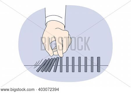 Opportunity, Danger, Challenge Concept. Hands Of Businessman Trying To Stop Falling Dominos Figures