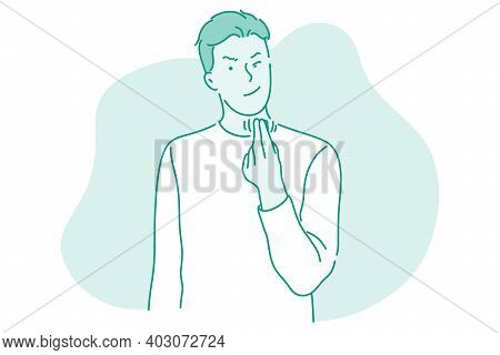 Greed, Money, Finance Concept. Young Businessman Cartoon Character Standing Pressing Fingers Showing