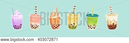 Set Of Plastic Glasses With Taiwanese Bubble Or Boba Milk Tea With Different Flavors: Matcha, Honeyd